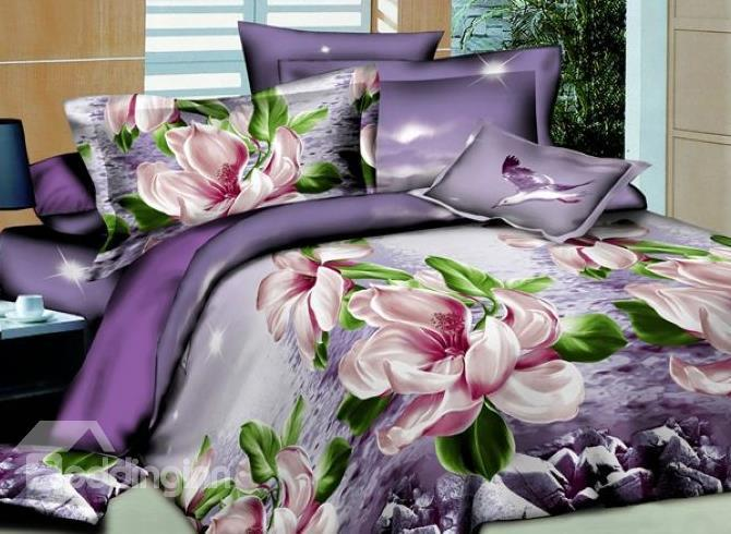 New Arrival Top Class Romantic Purple Fabulous Flower 3d Printed 4 Piece Polyester Bedding Sets