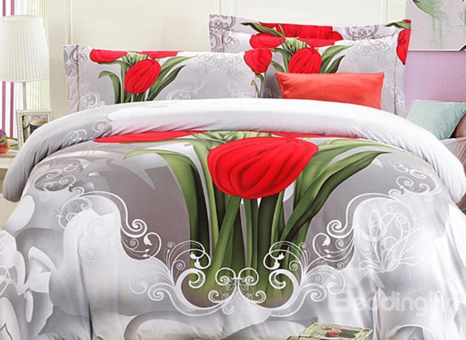 Beautiful Red Tulip Print 4 Piece 3d Duvet Cover Sets