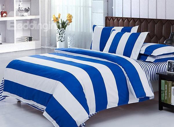 Blue And White Stripe Pattern 4-Piece Polyester Duvet Cover Sets