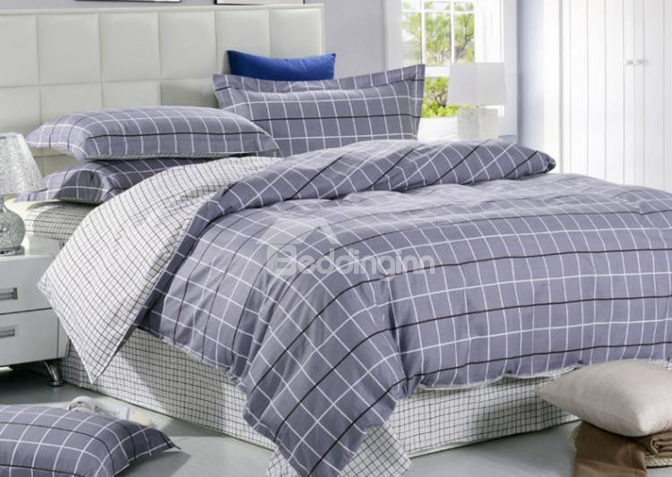 Gray Grid Print Reversible 4-Piece Cotton Duvet Cover Sets
