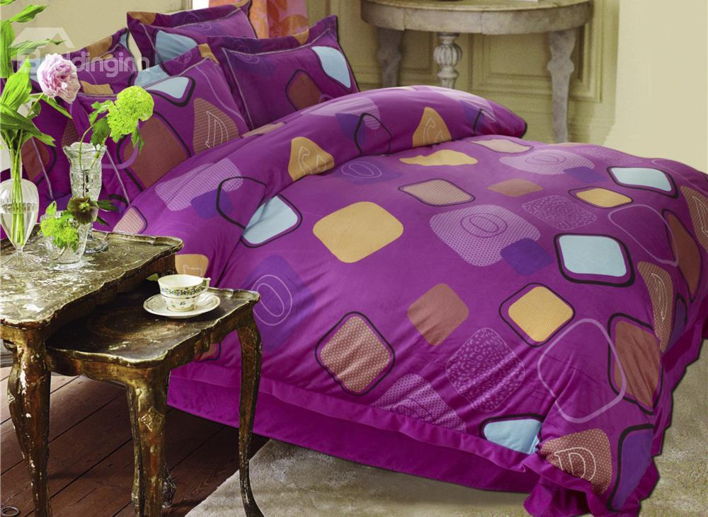 New Arrival Tetrapod Print Purple Sandedcloth Material 4 Piece Bedding Sets