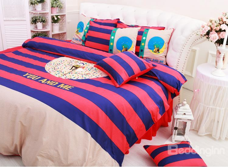 High Quality Red And Blue Stripe 6-Piece Cotton Duvet Cover Sets