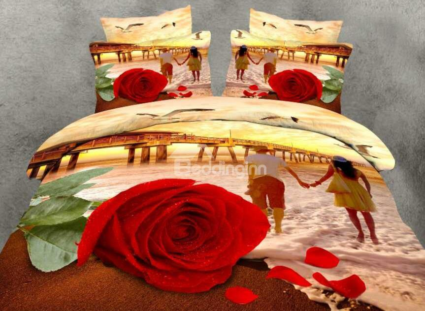 Fancy Red Rose And Couple Print 4-Piece 100%Cotton Duvet Cover Sets