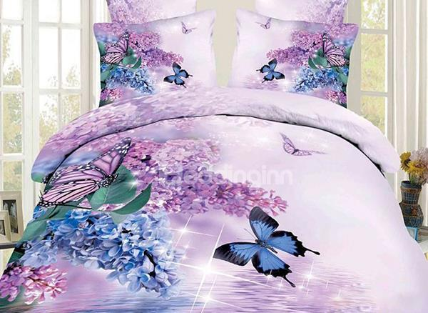 Charming Butterfly And Purple Flower Print 4-Piece 100%Cotton Duvet Cover Sets