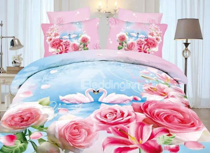Grace Pink Roses And White Swan Couple Print 4-Piece 3d Duvet Cover Sets