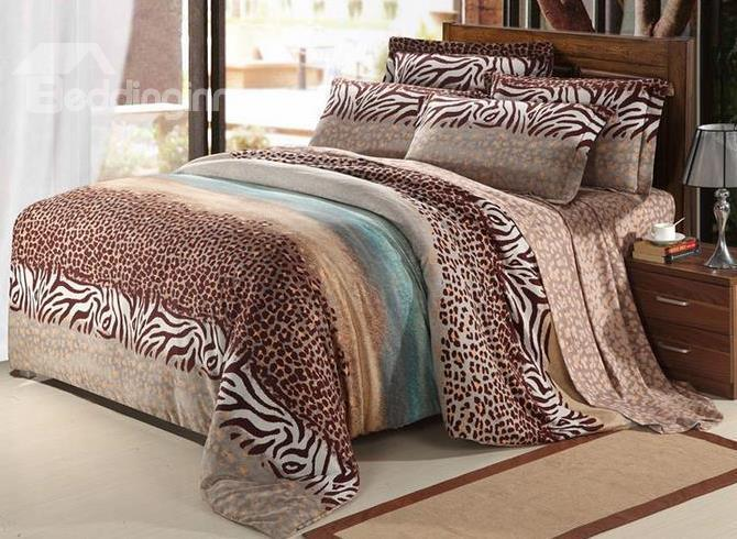 New Arrival 100%Cotton Thick Sanding Leopard Print 4 Piece Bedding Sets/Duvet Cover Sets