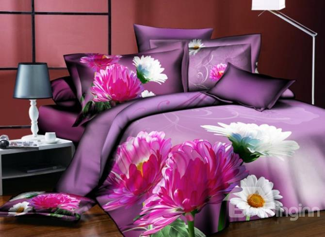 Pink And White Daisy Print Polyester 3d Bedding Sets
