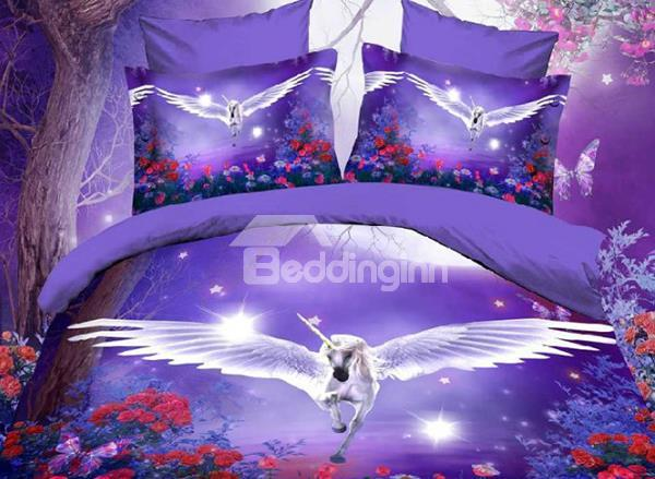 Dreamlike Flying Horse With Wings Purple Polyester Bedding Sets