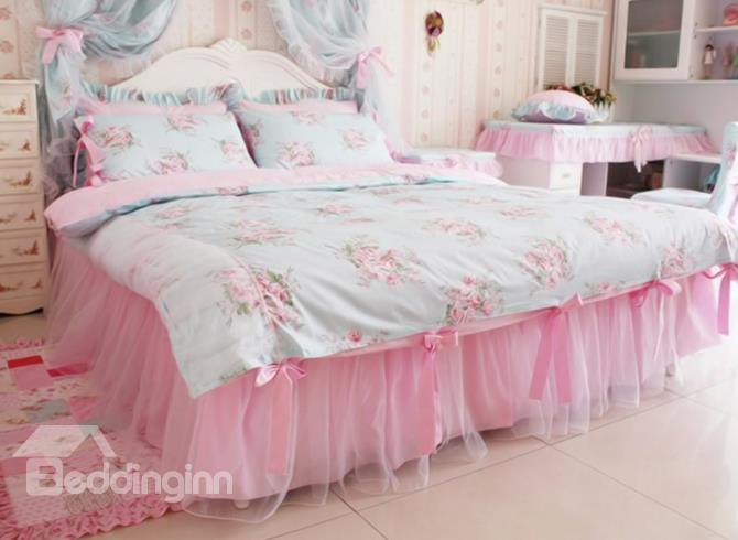 Lovely Bow Tie Trim Lace Edging 4-Piece Princess Duvet Cover Sets