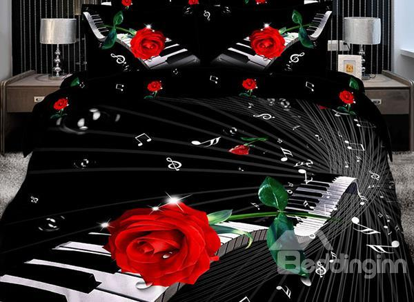 Elegant Piano With Red Rose Print 4 Piece Bedding Sets