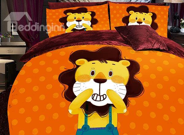 Lovable Cartoon Lion Print 4-Piece Coral Fleece Duvet Cover Set