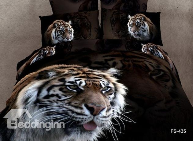 Hot Selling 3d Majestic King Of All Animal Print 4 Pieces Bedding Sets
