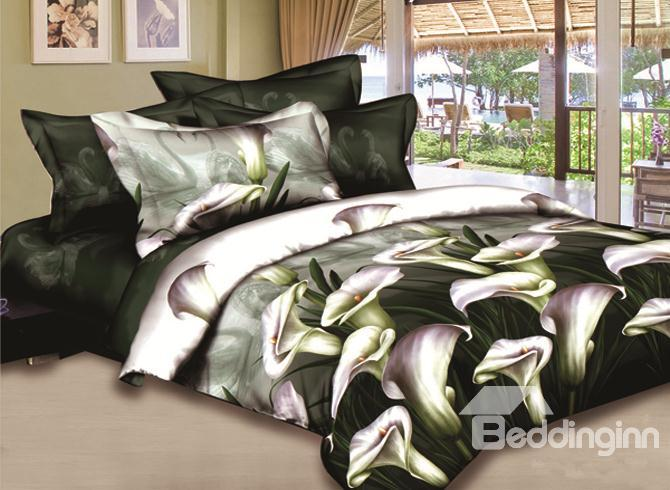 Elegant Dark Green Lilies With Swan Fitted 4-Piece Bedding Sets 10489472)