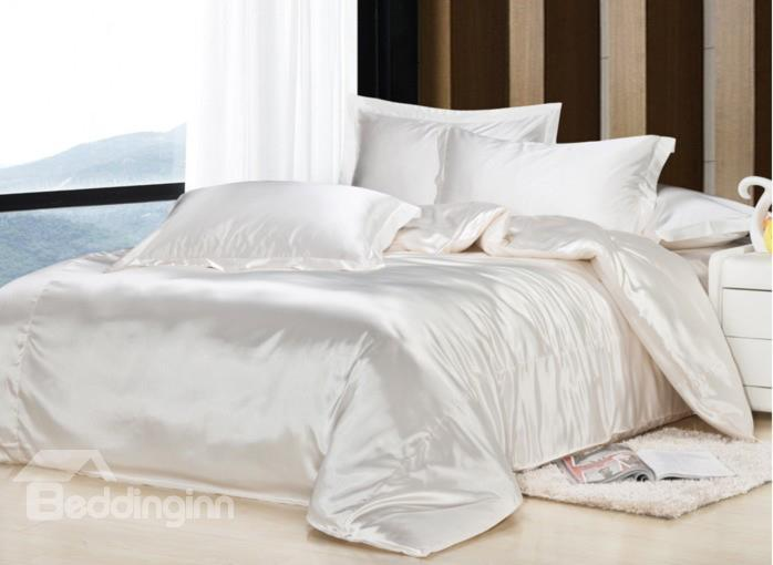 Noble White 4-Piece Silk Duvet Cover Sets