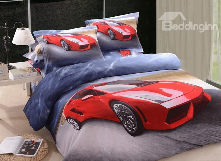 New Arrival Cool Red Racing Car Print 4 Piece Bedding Sets