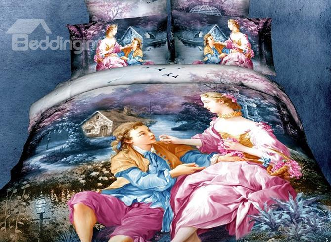 Beautiful Famous Painting Print 4 Piece Bedding Sets Duvet Cover Sets