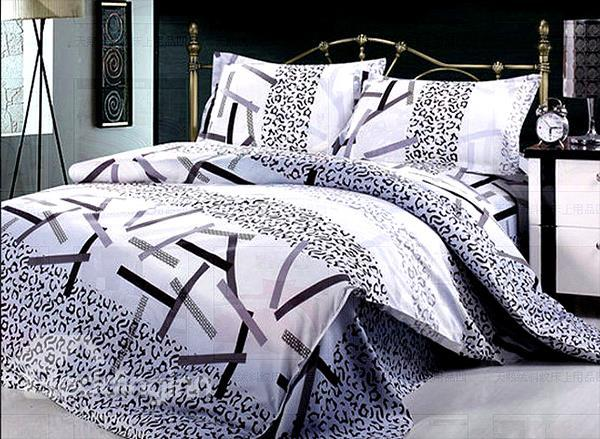 Leopard And Bar Stripe Pattern 4-Piece Duvet Cover Sets
