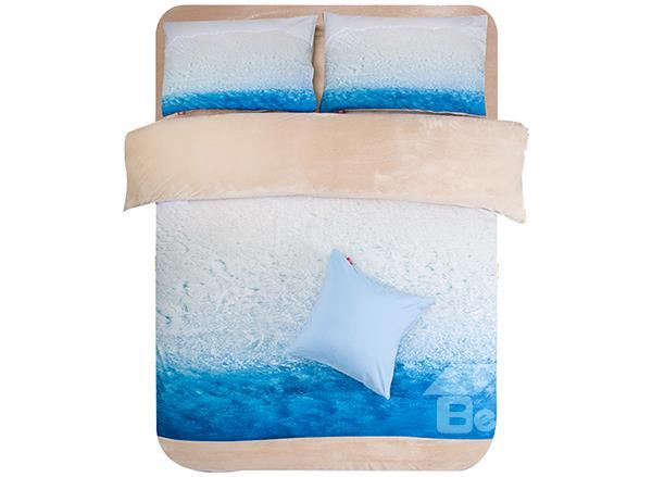 Clear Blue Water Print 4-Piece Comfy Coral Fleece Duvet Cover Sets