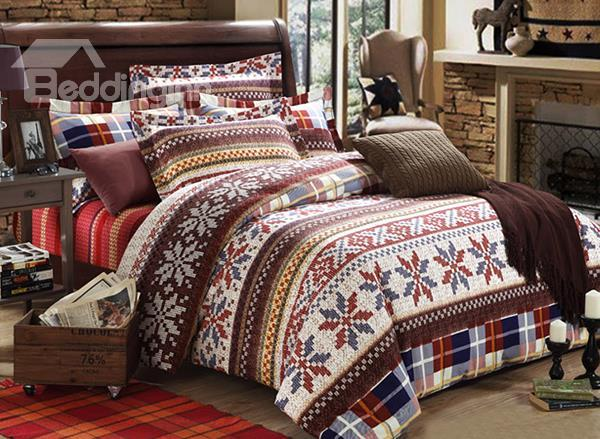 Classical Snowflake Pattern 4-Piece Flannel Christmas Gift Duvet Cover Sets