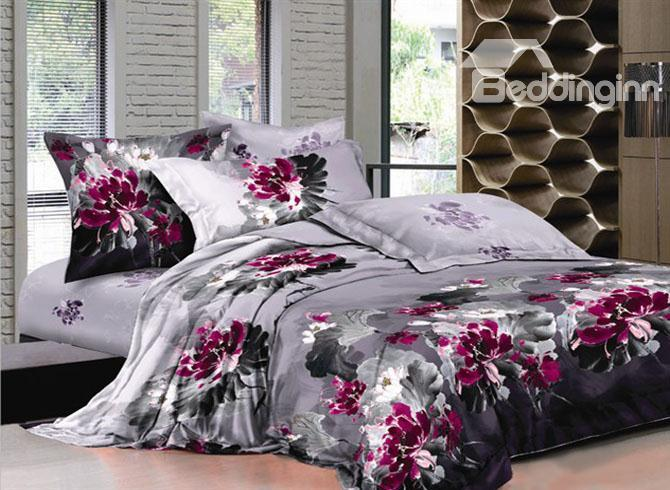 Pink Chinese Ink And Wash Printed 4 Piece Bedding Sets With Cotton 10489416)