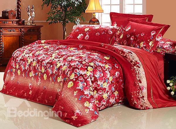 Golden Edge Red Flower Print 4-Piece Microfiber Duvet Cover Sets