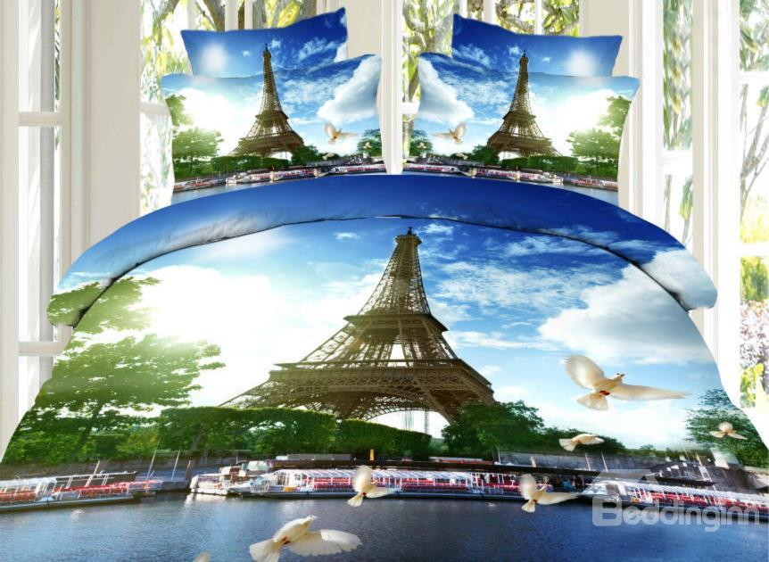 Eiffel Tower And Pigeon Print 4-Piece Cotton Duvet Cover Sets
