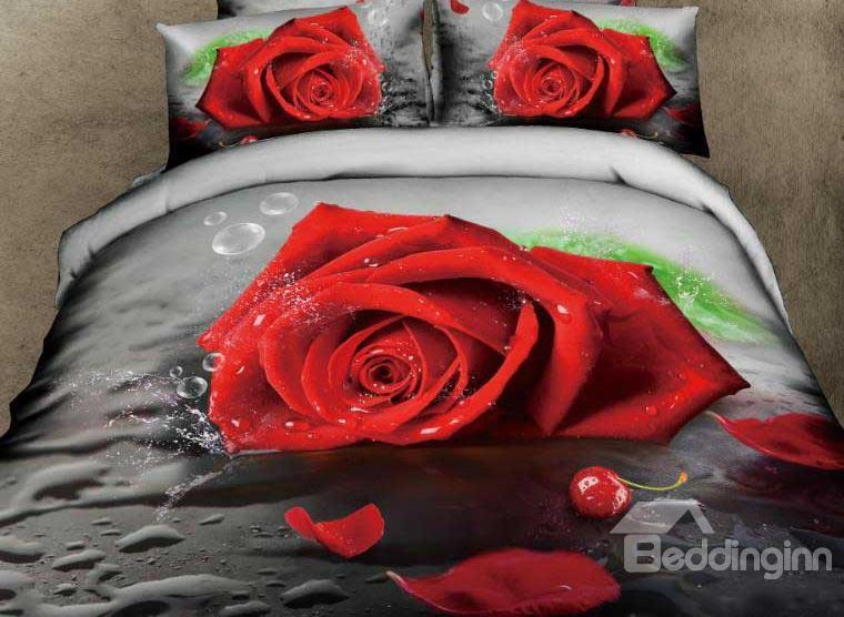New Arrival Amazing Red Rose And Cherry Print 4 Piece Bedding Sets