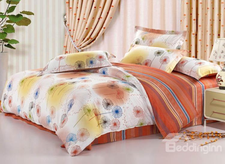 New Arrival Colorful Dandelion Print European Style 4 Piece Bedding Sets