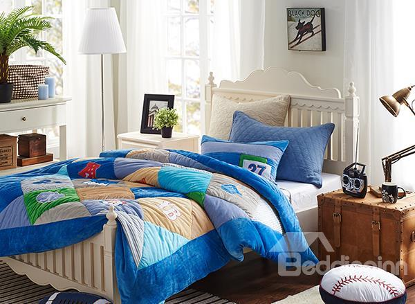 Unique Baseball Fan Print 2-Piece Dull Velvet Kids Duvet Cover Sets