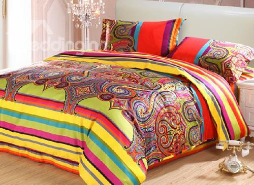 100%Cotton Top Selling Luxury National Style Exquisite 4 Piece Bedding Sets