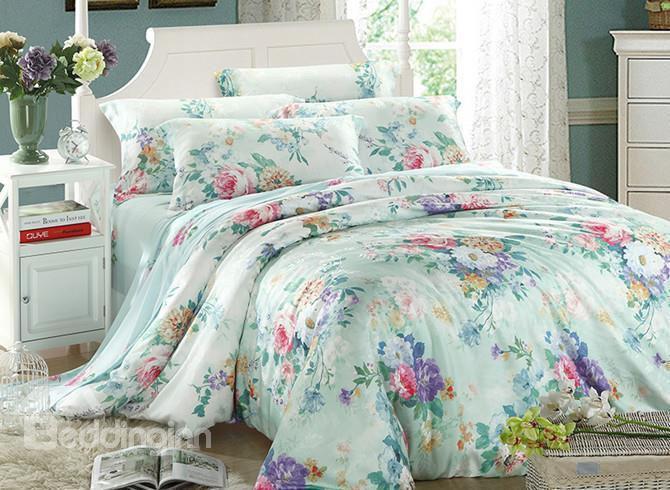 High Quality Fantastic Colorful Flowers Blossom Print 4 Pieces Summer Bedding Sets