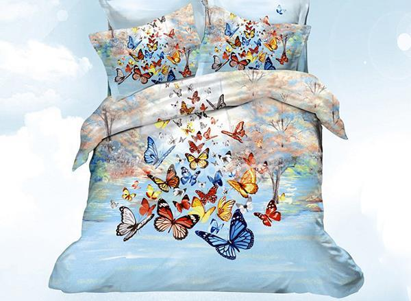 New Arrival Beautiful Colorful Butterflies Print 4 Piece Bedding Sets