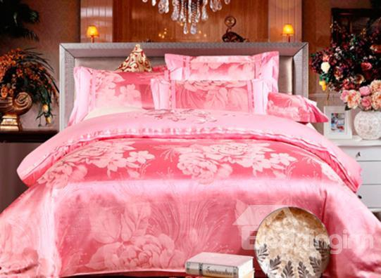 Sweet Pink Soft Cotton Flower Print 100%Cotton 4-Piece Duvet Cover Sets