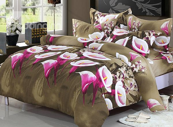 Wonderful Calla Lily Print 4-Piece Cotton Duvet Cover Sets