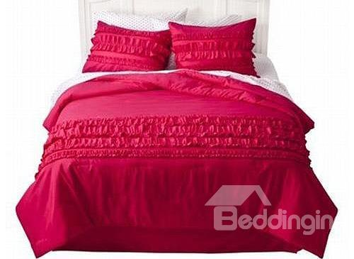 Grand Bright Red Satin Lace Trim 4-Piece Wedding Duvet Cover Sets