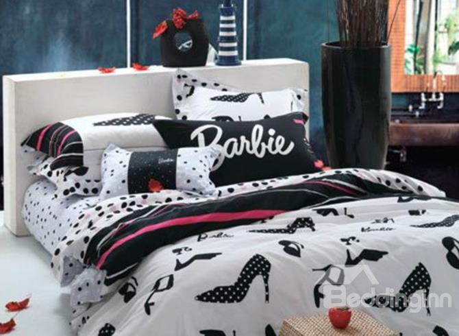 New Arrival Beautiful Barbie High Heels And Dots Print 4 Piece Bedding Sets