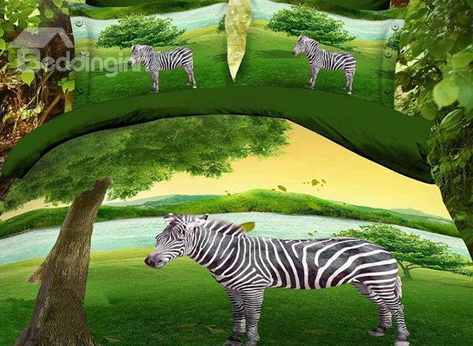 Cute Zebra On Grasslands 4 Piece Bedding Sets/Duvet Cover Sets