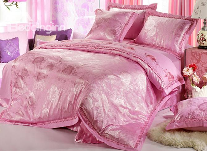 Comfortable Pink Jacquard 4 Piece Satin Duvet Cover Sets With Embroidery 10490293)