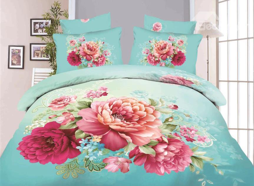 Red Peony With Green Background Print 4-Piece Cotton Duvet Cover Sets