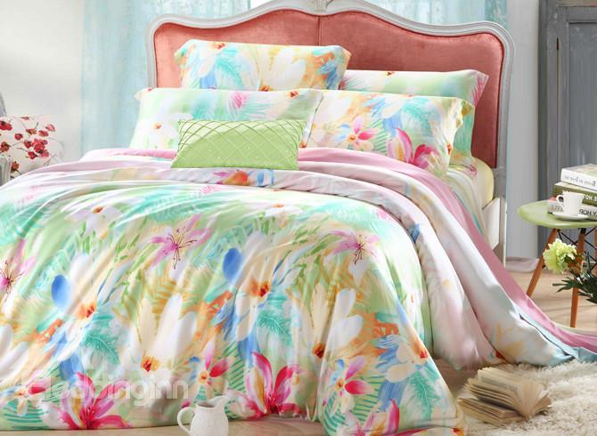 High Quality Graceful Floral 4 Pieces Tencel Bedding Sets