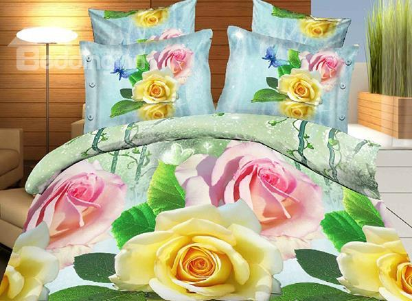 Charming Pink And Red Rose Print 4-Piece Polyester Duvet Cover Sets
