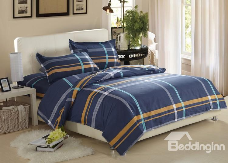 Dark blue 100 cotton 4 piece discount bedding sets with fitted sheet