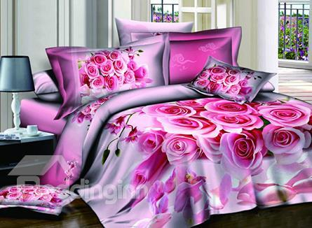 Sweet Rose Bouquet With High Quality 4 Pieces Bedding Sets