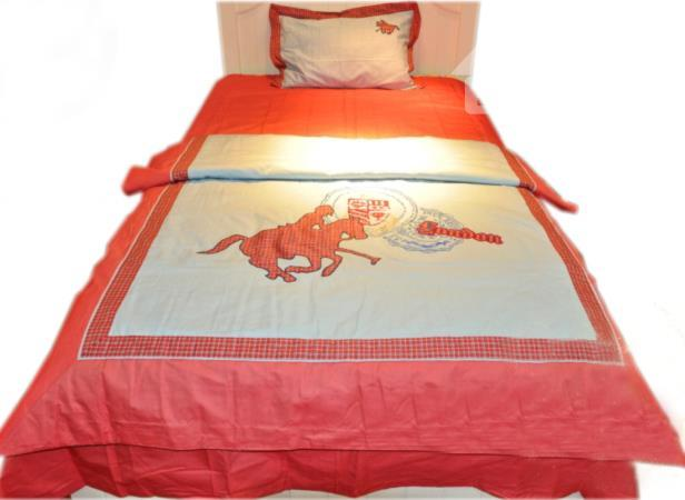Equestrian Silhouette Printed 4-Piece Cotton Duvet Cover Sets