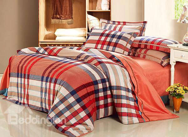 Modern Orange Checked Pattern 4-Piece Flannel Duvet Cover Sets