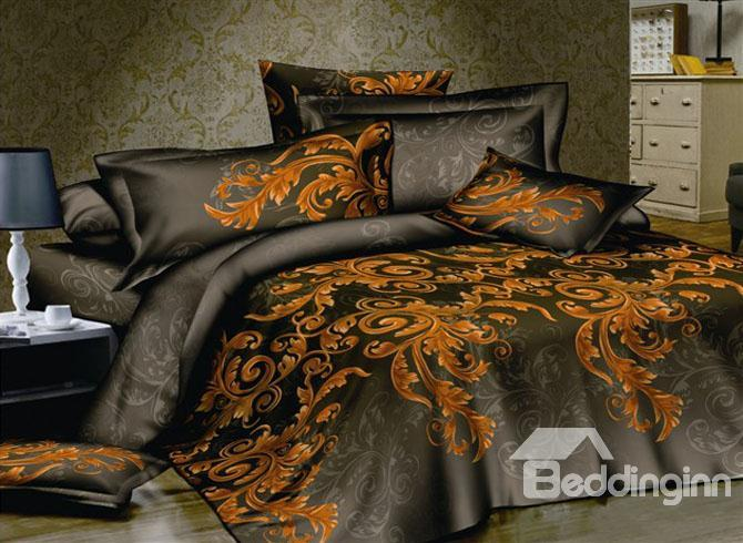 Gorgeous 4 Piece Cotton Bedding Sets With Gold Pattern 10489672)