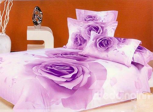 Hot Selling Luxurious Purple Rose Print 4 Piece Bedding Sets