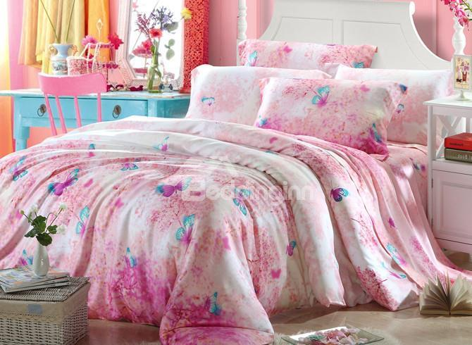 High Quality Beautiful Butterflies Patterns 4 Pieces Tencel Bedding Sets