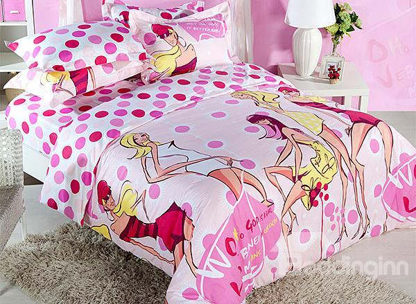Pretty Girl And Polka Dot Print 4-Piece Cotton Duvet Cover Sets