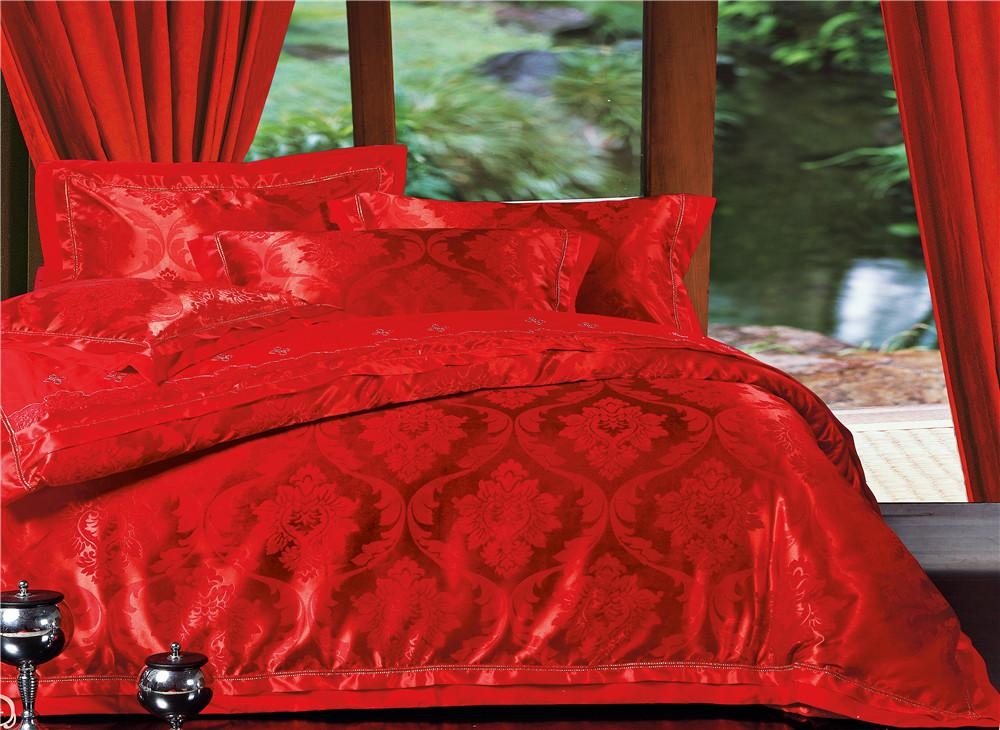 Stunning Fire Red Jacquard Sateen 4 Piece Bedding Sets